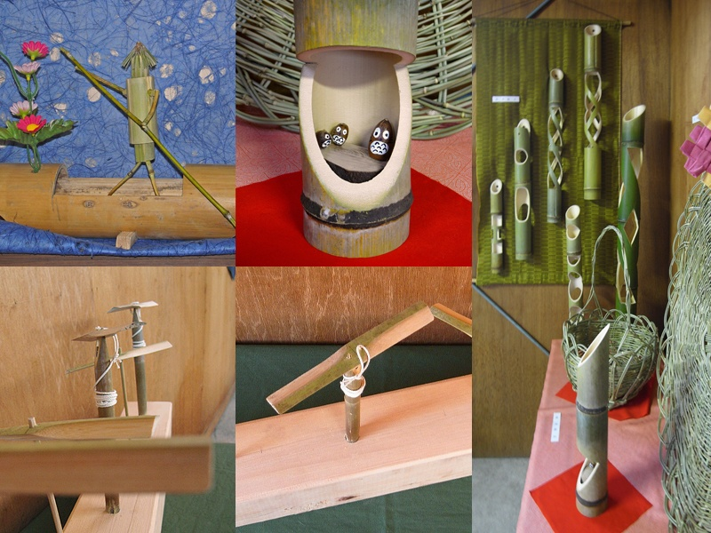 竹細工 一輪挿し、器、竹とんぼ