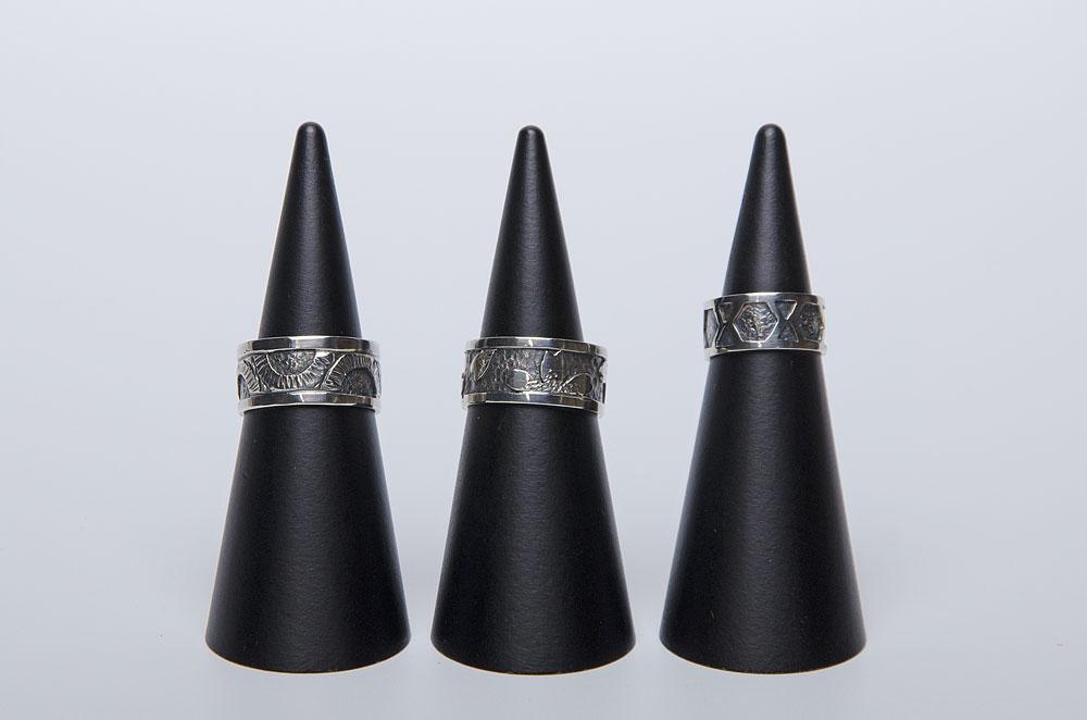 指輪(透かし二重、銀、彫金)