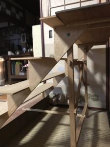 昭和30年代の雛飾りの段の組み立て